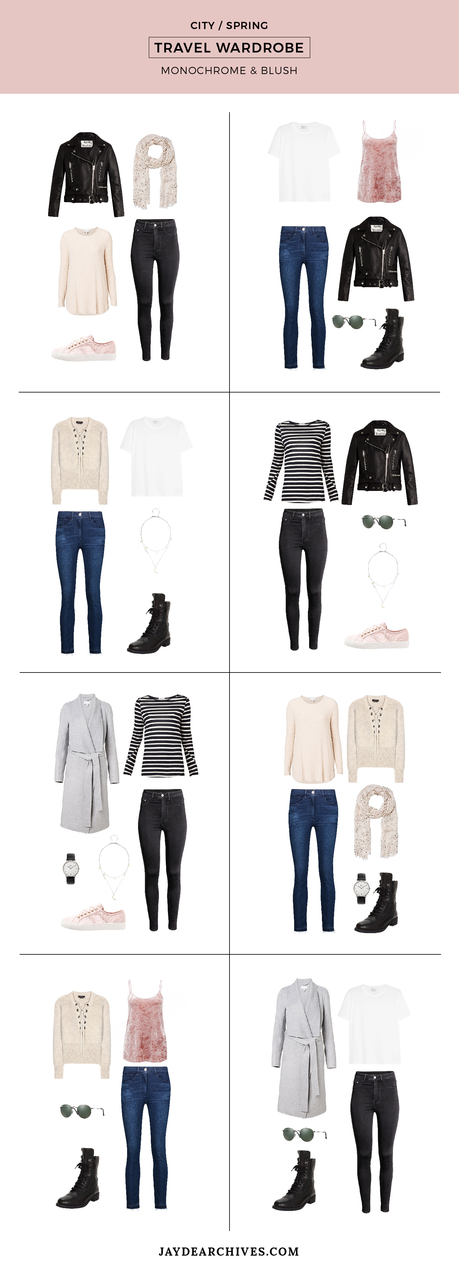 Travel Wardrobe: Monochrome and Blush. Perfect for the city in spring or autumn.
