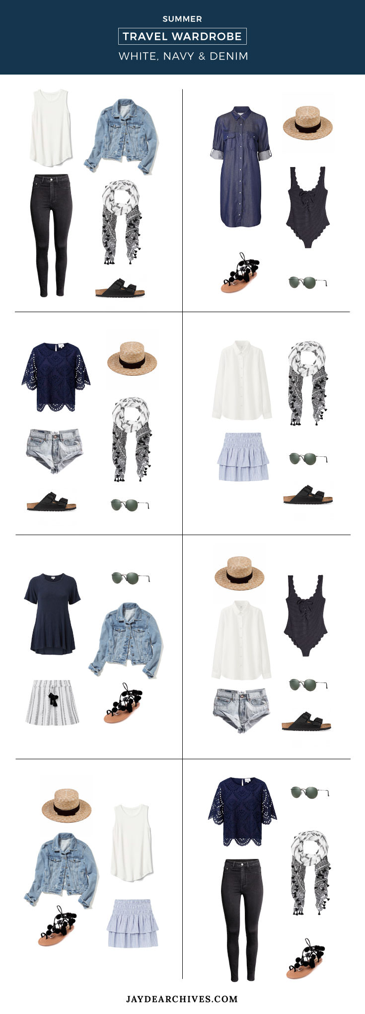 Summer Travel Wardrobe: White, Navy & Denim
