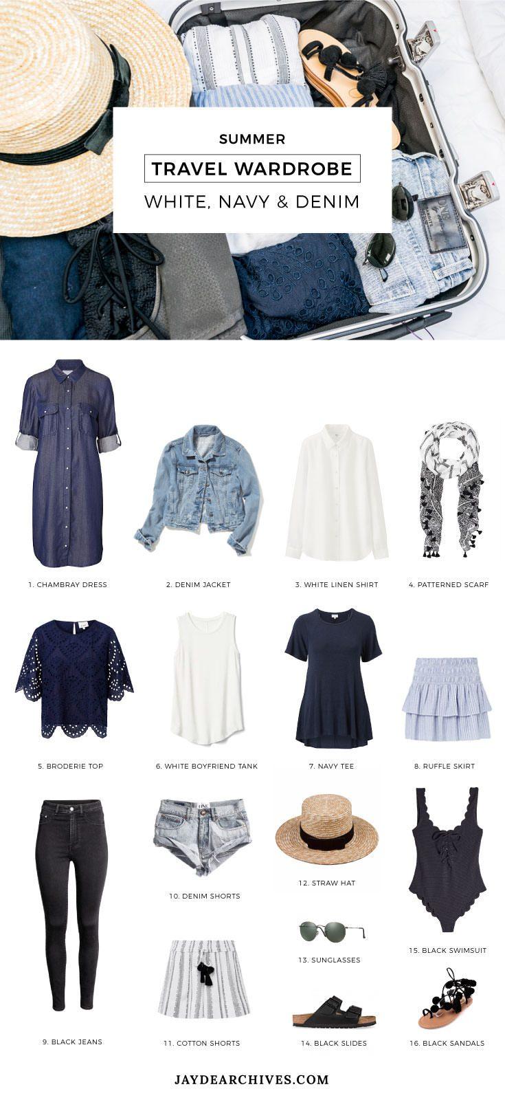 Summer Travel Wardrobe: White, Navy & Denim