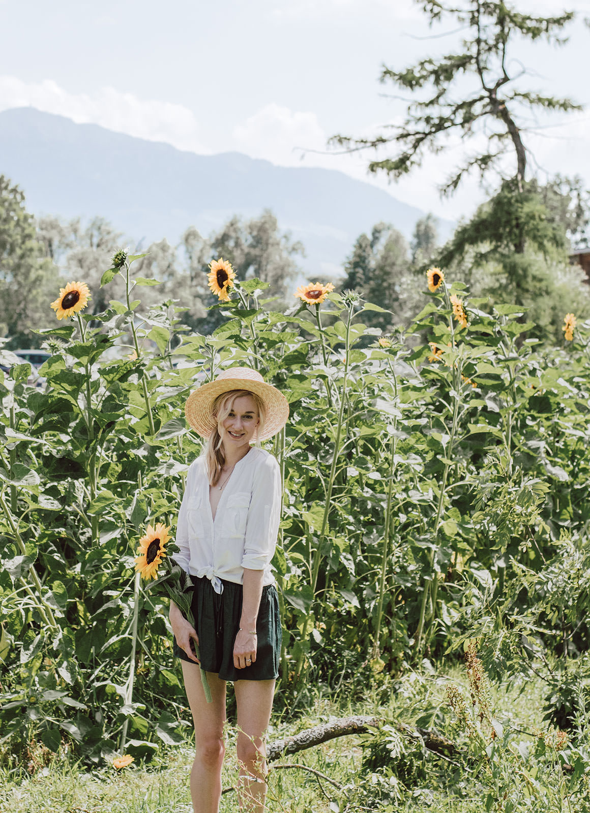 Swiss Sunflower Field - Green Shorts Outfit