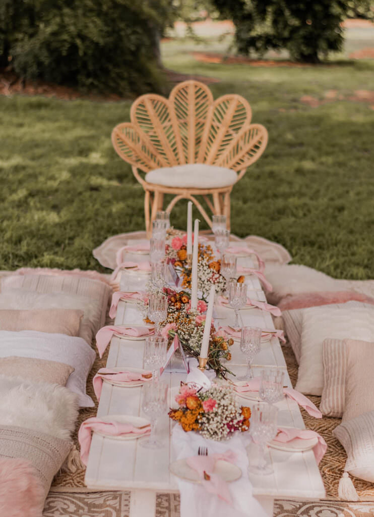 Outdoor Picnic Baby Shower Low Tables